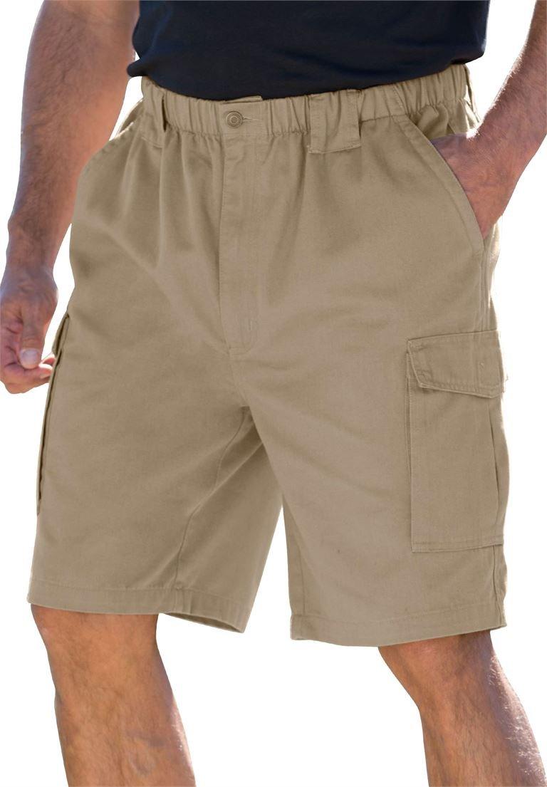 Boulder Creek Mens Big & Tall 9'' Renegade Cargo Shorts With Full Elastic Waist,, Dark Khaki, X-Large Tall