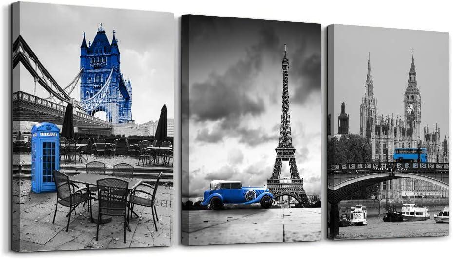 3 Panels London Blue Bus Canvas Wall Art Paris Eiffel Tower Cityscape Picture Canvas Print for Bedroom Bathroom Decoration Framed Artworks