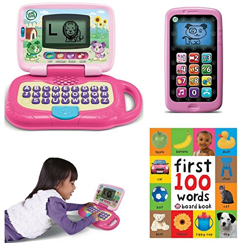 LeapFrog My Own Leaptop, Pink, Chat And Count Smart Phone, Violet, First 100 Words, Kindergarden Pre- school, Play Pretend, Fun, Educational Activity Bundle, Set For Kids, Holiday Toy, Gift Set Kid