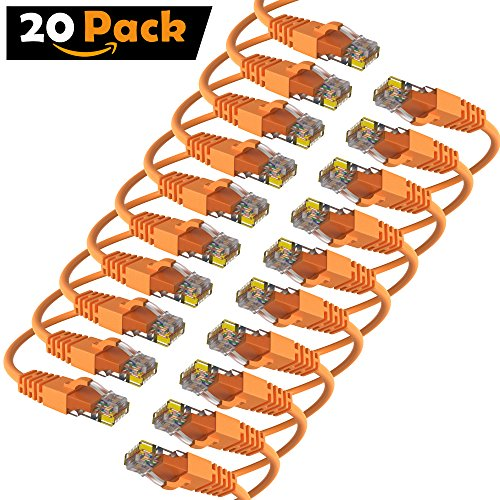 Maximm Cat6 Snagless Ethernet Cable - 15 Feet - Orange - [20 Pack] - Pure Copper - UL Listed - Cable Ties Included by Maximm