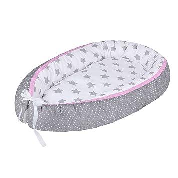 LULANDO Baby- Nest Multifunctional Reversible Baby Cocoon Sleep Nest Farbe:White Stars//White