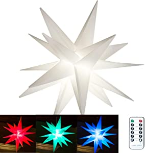 """Elf Logic 18"""" Remote Controlled Multicolor Hanging Moravian Star Light NO Assembly Required! Perfect Indoor or Outdoor Porch Christmas Star (Multicolor, 18 Inch)"""