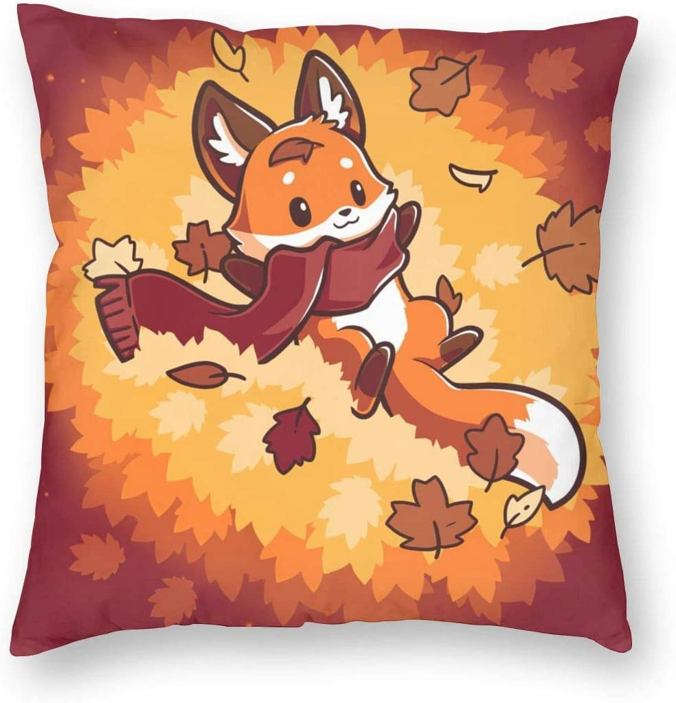 MINIOZE Maple Leaf Autumn Cartoon Fox Cute Thanking Fall Print Plush Soft Square Pillow Covers Home Decor Cushion Covers Decorations Gifts Pillowcase for Indoor Sofa Bedroom Car 18 x 18 Inch