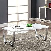 Furniture of America CM4058C Trina White and Chrome Coffee Table