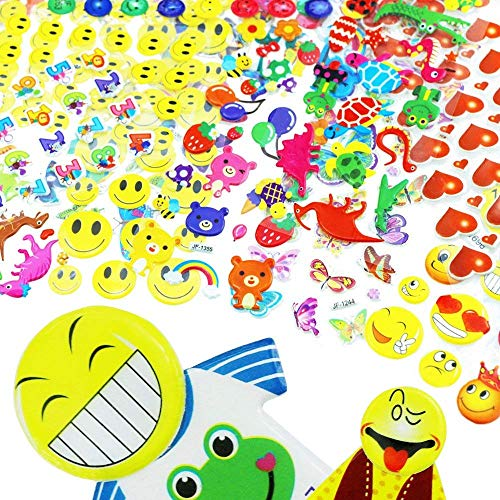 ISusser Kids Stickers (1300+ Count) 3D Stickers for Children, Kids Scrapbooking, 45 Different Sheets, Including Animals, Cars, Dinosaurs, Trucks, Airplane, Ship, Letters, Pets and Tons More