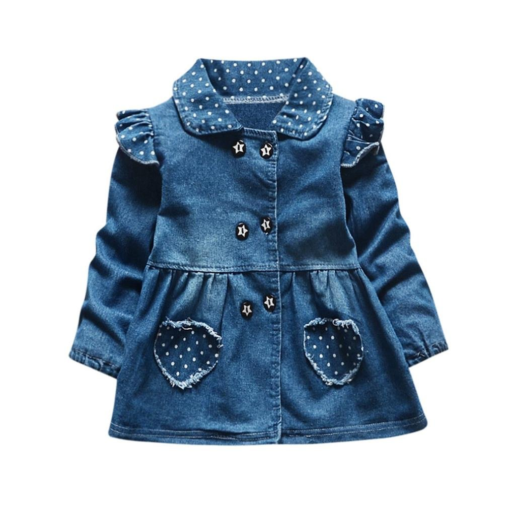 Blue, 18-24M FEITONG Toddler Baby Girls Wave Point Love Pocket Long Sleeve Princess Denim Dress Outfits Tops