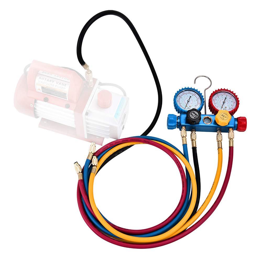 R/éfrig/ération Digital Collecteur Ensemble Jauge Collecteur de Diagnostic Ca 4 Voies pour Chargement du Fr/éon et L/évacuation Pompe /à Vide Compatible avec Fluides Frigorig/ènes R134A R410A et R22