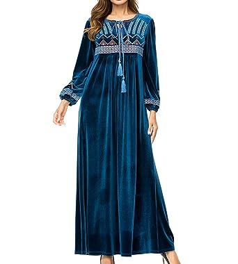 2db06b36cab zhxinashu Islamique Musulman Femmes Décontractée Robes - Hiver Broderie  Manche Longue Vêtements Ramadan Prière Costume  Amazon.fr  Vêtements et  accessoires