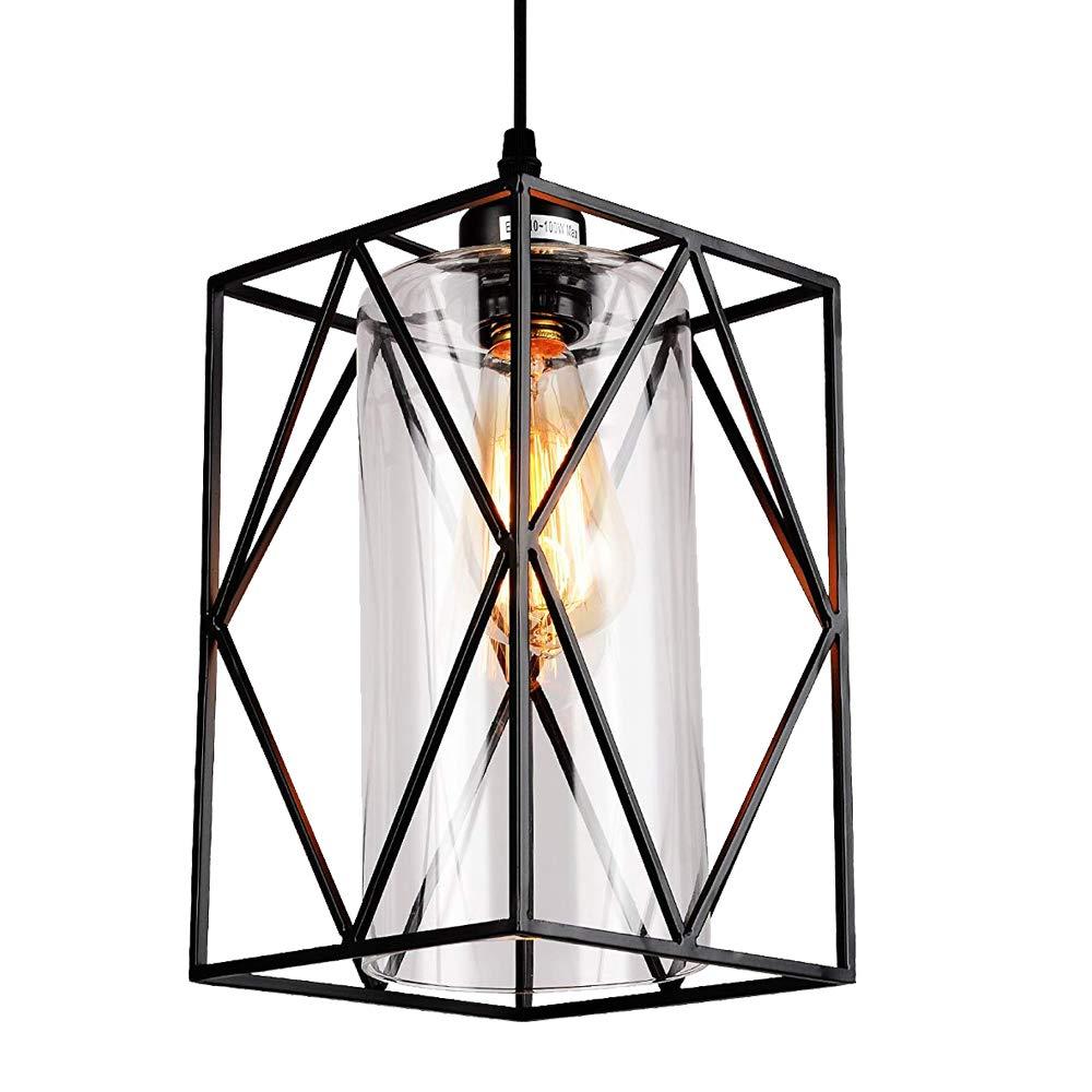 HMVPL Adjustable Pendant Lighting Fixture, Modern Iron Industrial Mini Swag Hanging Lamps with Glass Shade for Kitchen Island Bedroom Hallway Bar Living Room