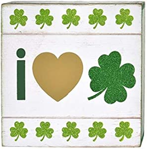 HAPPY DEALS ~ St. Patrick's Day Block Sign - 8x8 inch I Love Shamrocks Sign