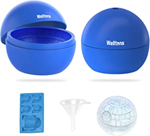 Welltons 2 Packs Star Wars Death Star Silicone Ice Cube Mold Tray,Chocolate Maker Tools,Ice Ball Shape for Drinks,Large Ball Shape for Whiskey, Cola, cocktails etc.(Blue)