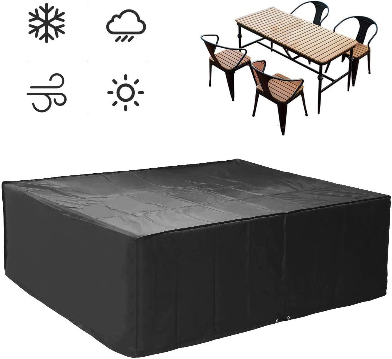 FIXKIT Rectangular Furniture Cover, Table and Chair Patio Cover Waterproof for Outdoor Garden Furniture Care Large 98 L79 W31.5 H