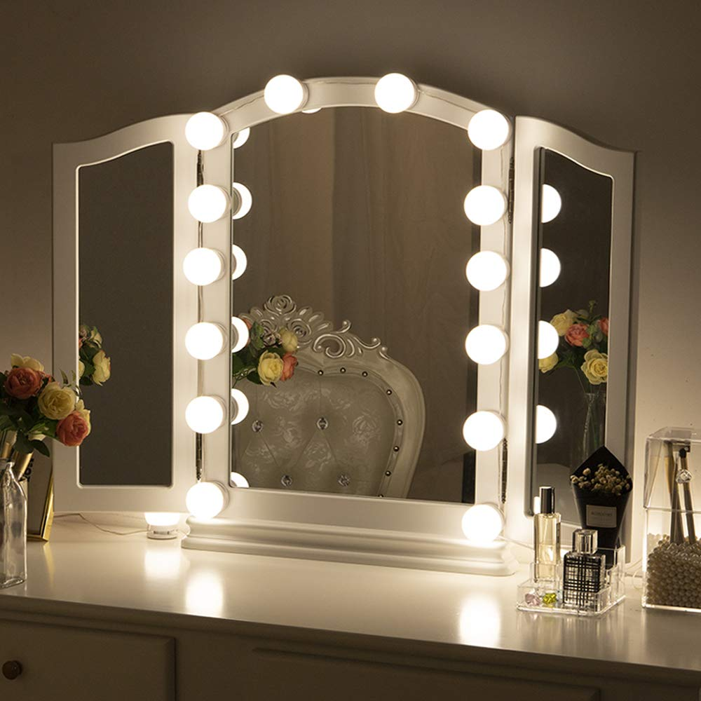 Chende Hollywood Style LED Vanity Mirror Lights Kit with Dimmable Light Bulbs, Lighting Fixture Strip for Makeup Vanity Table Set in Dressing Room, Mirror Not Included (14 Bulbs kit US)