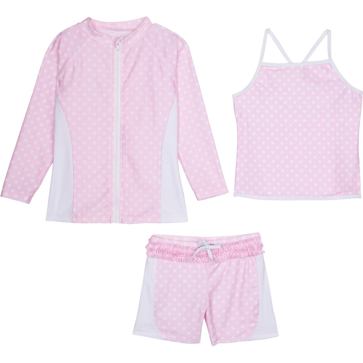 SwimZip Girls Long Sleeve Rash Guard Swim Shorts Set with UPF 50+ Pink 2T SZILSSHORTSET3PC24
