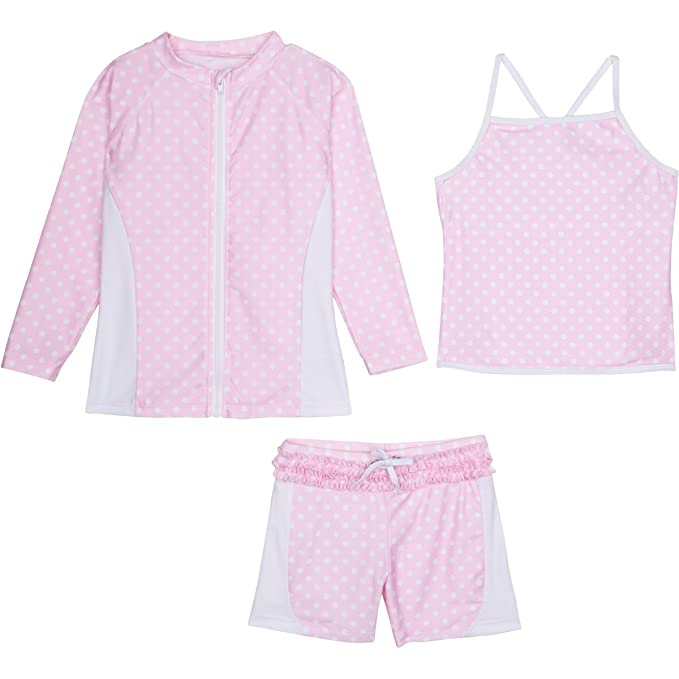 a0d32cc3 SwimZip Girls Long Sleeve Rash Guard Swim Shorts Set with UPF 50+ Pink 5T:  Amazon.ca: Clothing & Accessories