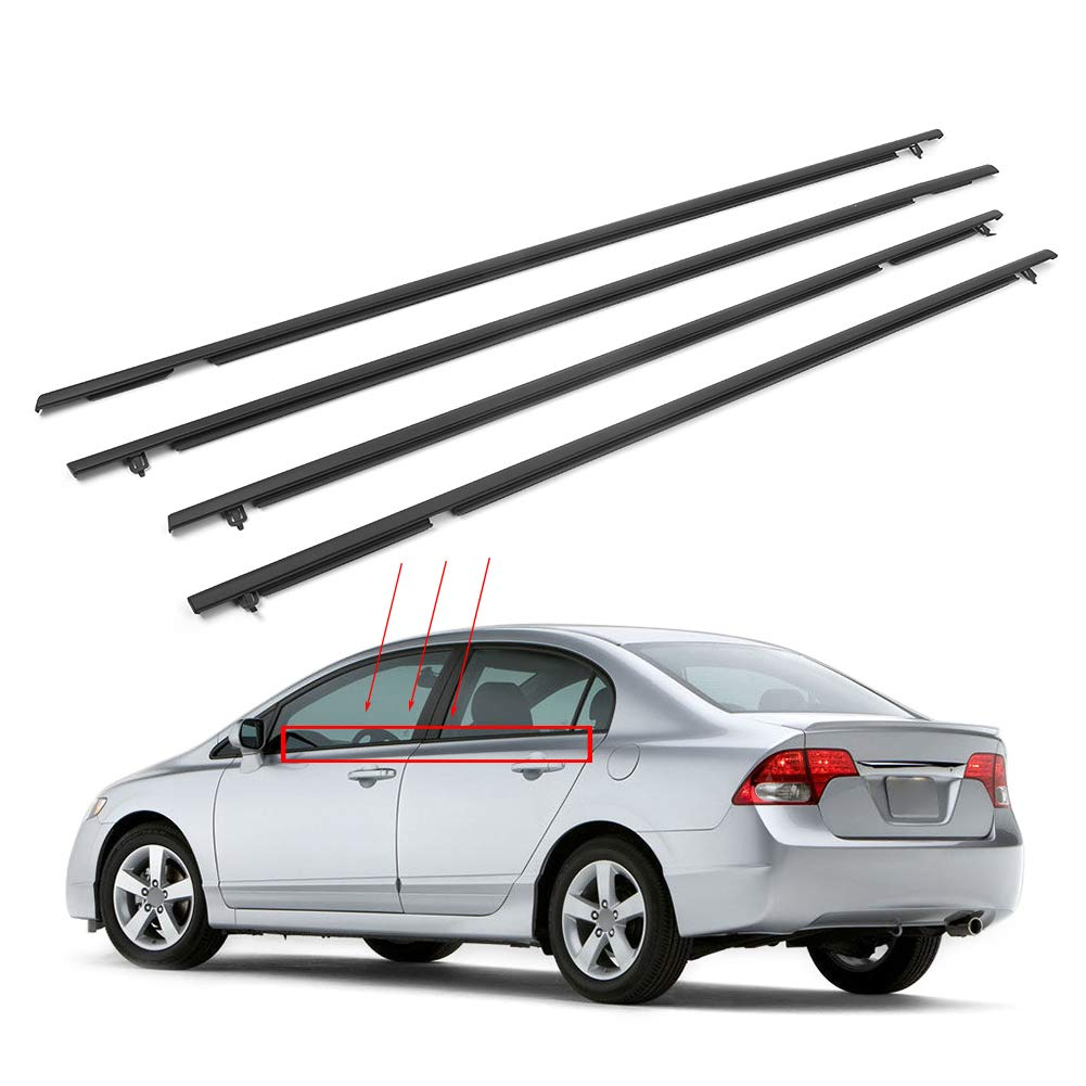 GZYF Window Weather Stripping, Window Seal Moulding Weatherstrip Compatible with Honda Civic 2006 2007 2008 2009 2010 2011