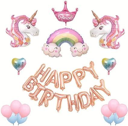 Unicorn Happy Birthday Banner Set- Rainbow Unicorn Themed Party Decorations Unicorn Pink White Balloons 10 inches for Childrens Birthday Baby Shower
