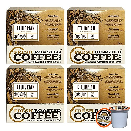 Ethiopian Yirgacheffe Single-Serve Coffee Pods, 72 Capsules for Keurig K-Cup Brewers, Fresh Roasted Coffee LLC. (72 Count)