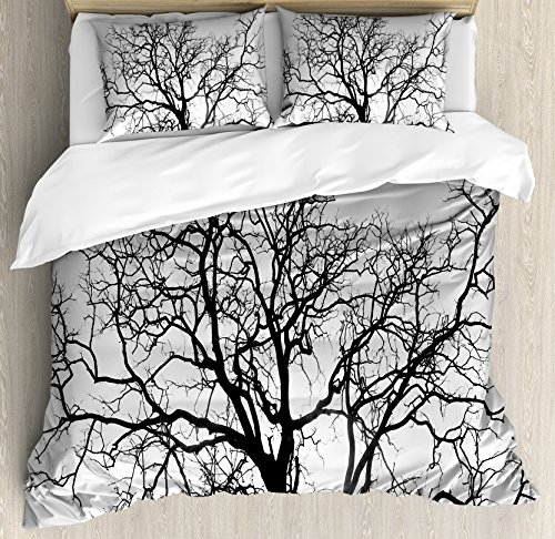 Ambesonne Forest Duvet Cover Set, Dead Old Branches Arms Limbs Sadness Symbol Tree of Life Offshoot Picture Print, Decorative 3 Piece Bedding Set with 2 Pillow Shams, King Size, Black Grey (Bedding Photo Print)