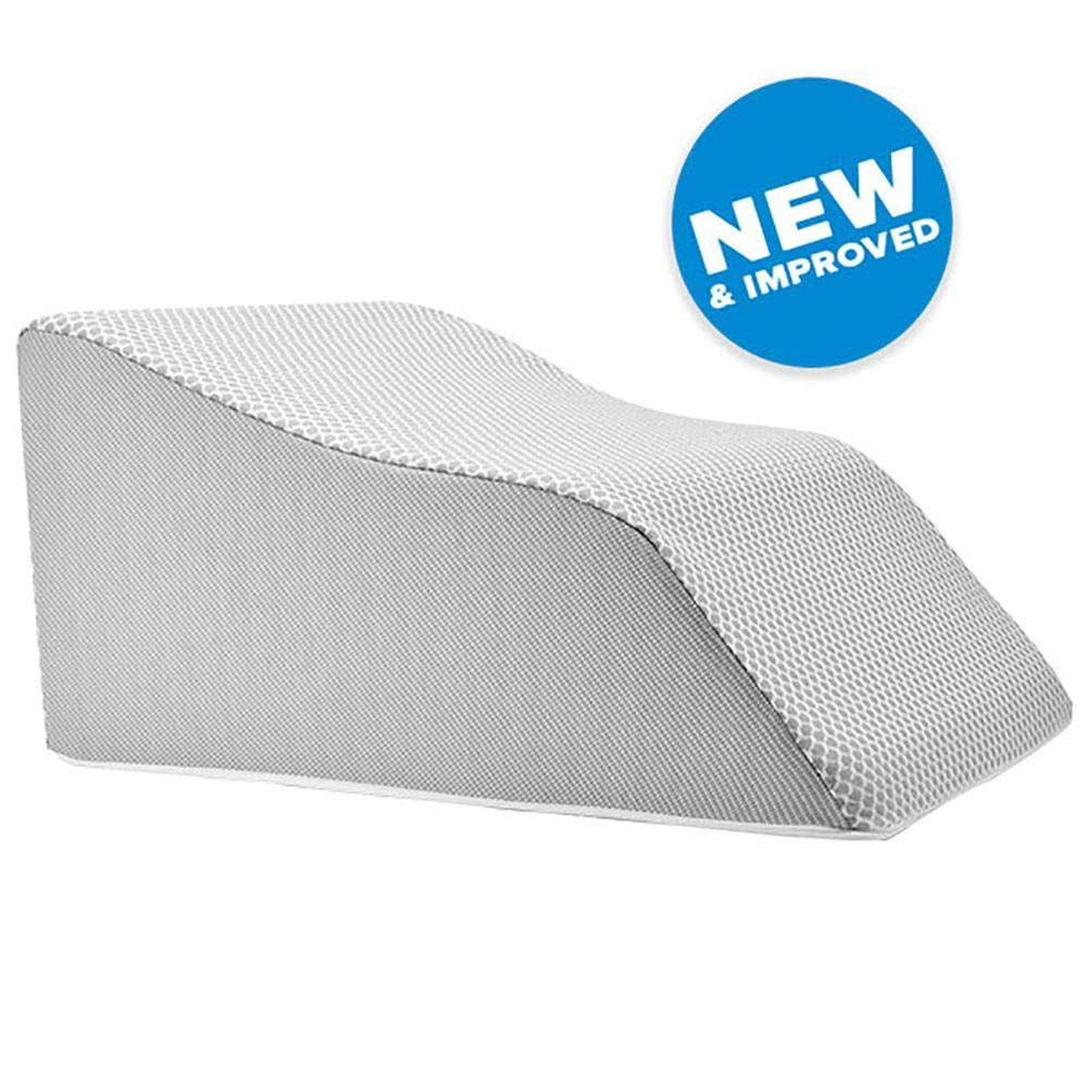 Lounge Doctor Elevating Leg Rest Pillow Wedge Foam w Heather Grey Cover Large-Foot Pillow-Leg Support-Leg Swelling-Vein Issues-Lymphedema-Restless Legs-Pregnancy