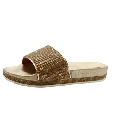 2e1000081593 SAUTE STYLES Ladies Womens Summer Sparkly Diamante Rubber Slip On Sliders  Mules Sandals Shoes Size 3-8  Amazon.co.uk  Shoes   Bags