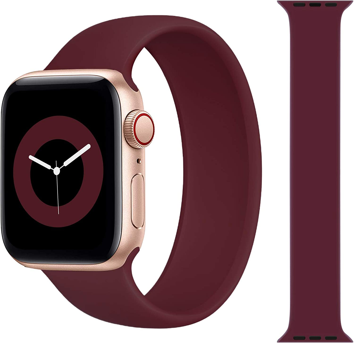 Solo Loop Strap Compatible with Apple Watch Band 38mm 40mm 42mm 44mm, Sport Elastics Silicone Apple Watch Bands Women Men, Replacement Wristband for iWatch Series 6 5 4 3 2 1 SE (Wine Red 42S)