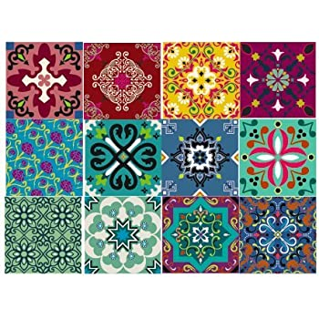 Amazon Com India Decorative Tile Stickers Set 12 Units