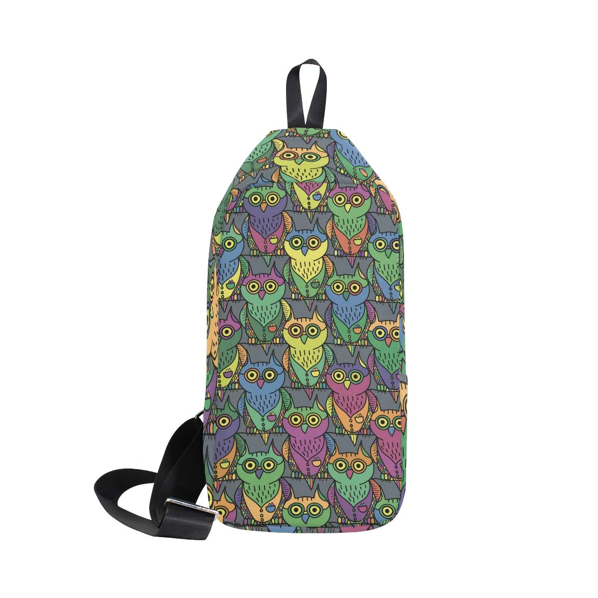 Unisex Messenger Bag Colorful Owl Shoulder Chest Cross Body Backpack Bag