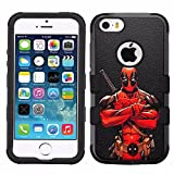 iphone 5 ca se - for iPhone SE/5/5s, Hard+Rubber Dual Layer Hybrid Heavy-Duty Rugged Armor Cover Case - Deadpool #CA