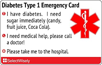 Amazon com: Diabetes Type 1 Emergency Translation Card - Translated