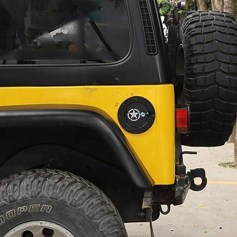 No Brand Tankdeckel Abdeckung Mit Schloss Für Jeep Wrangler Tj 1997 2006 Auto Exterior Zubehör Schwarz Abs Styling Dekoration Aufkleber Küche Haushalt
