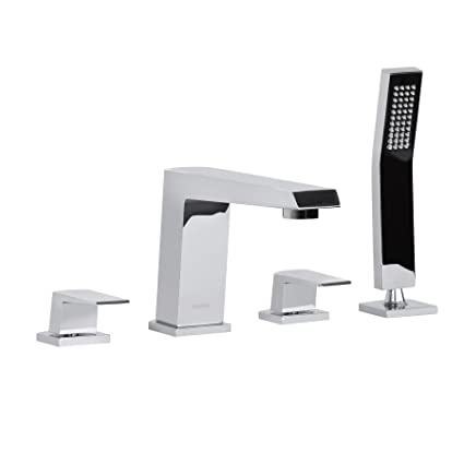 MAYKKE Augusta Deck Mount Bathtub Faucet with Retractable Hand ...