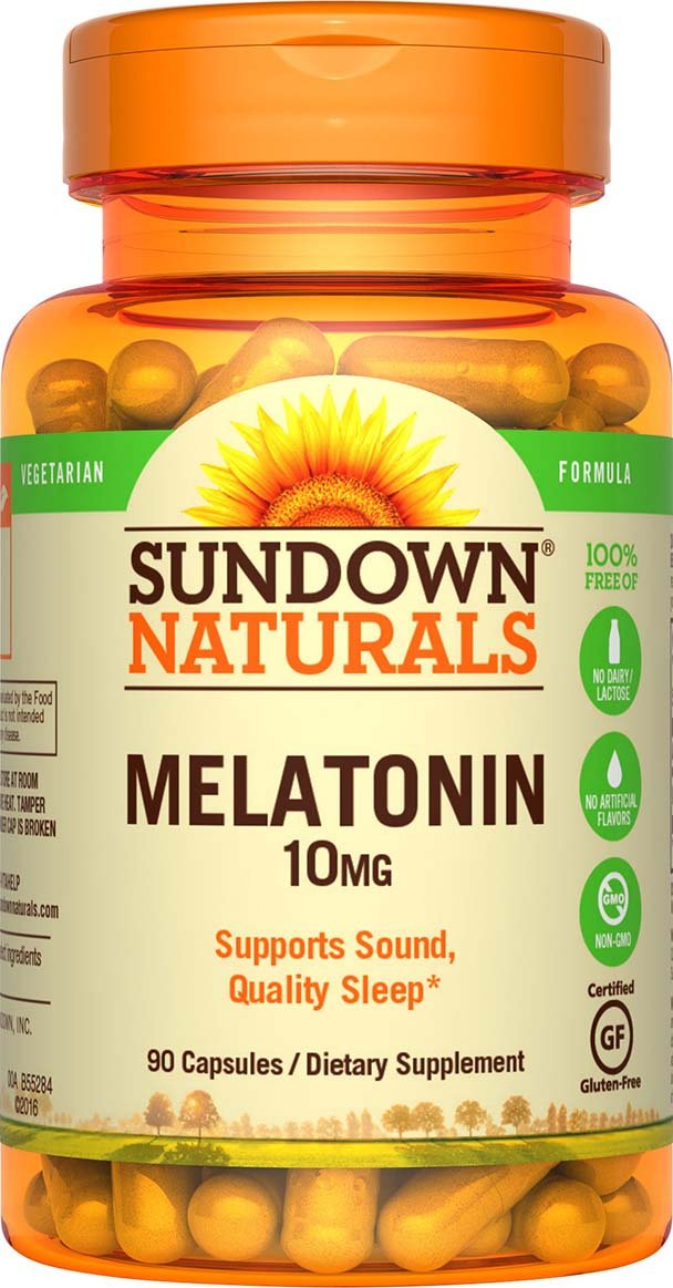 Sundown Naturals Melatonin 10 mg, 90 Capsules (Pack of 3)