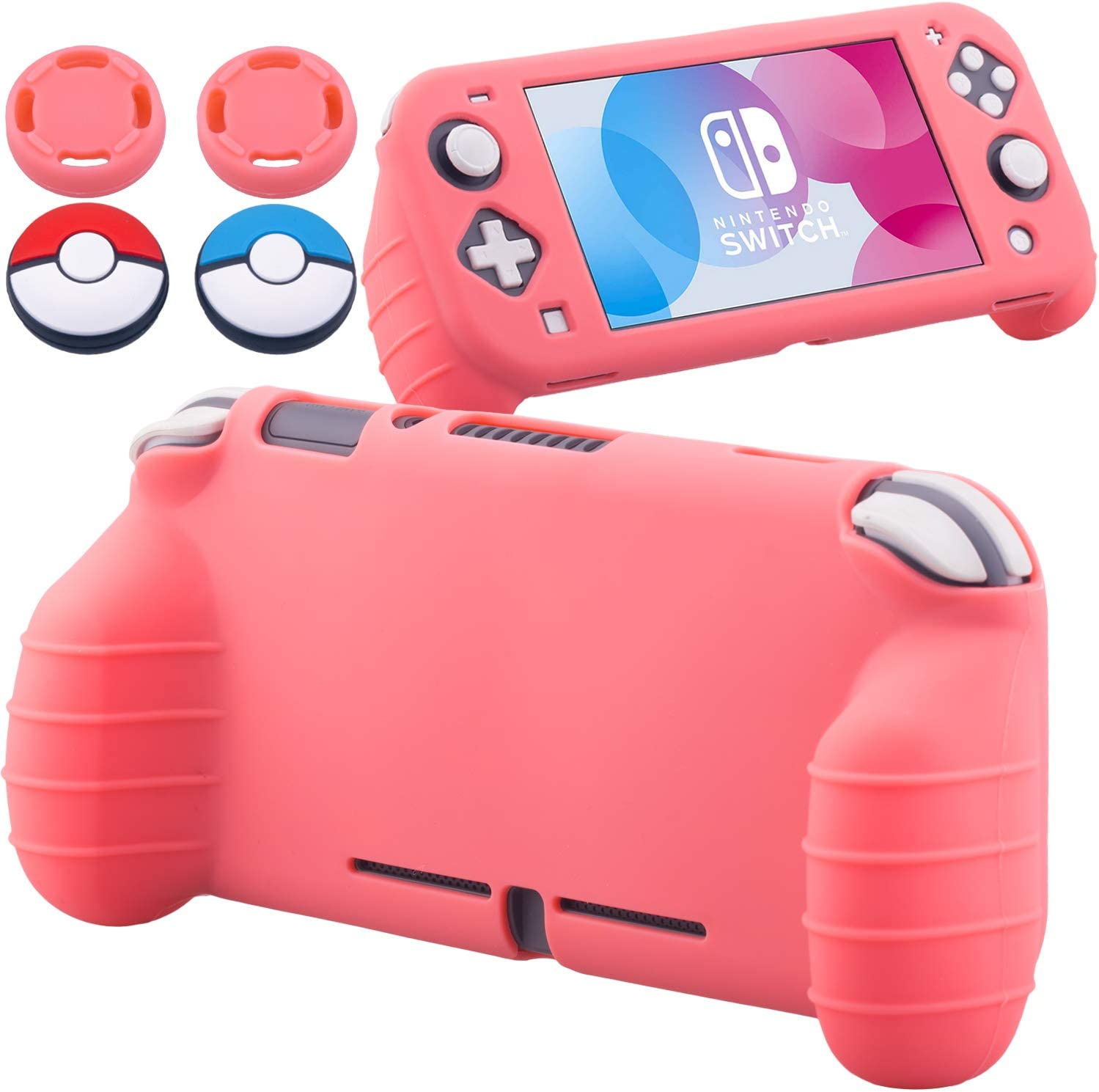 YoRHa Handle Grip Soft Silicone Rubber Protective Cover Case (Coral) x 1 and Thumbsticks x 4 for Nintendo Switch Lite - 9.2019 Slim Model