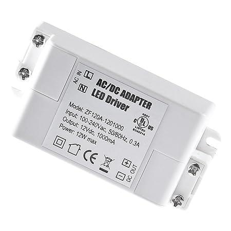 YAYZA! 2-Paquete Transformador de Conductor LED de Bajo Voltaje IP44 12V 1A 12W Fuente de Alimentación Conmutada de CA/CC: Amazon.es: Electrónica