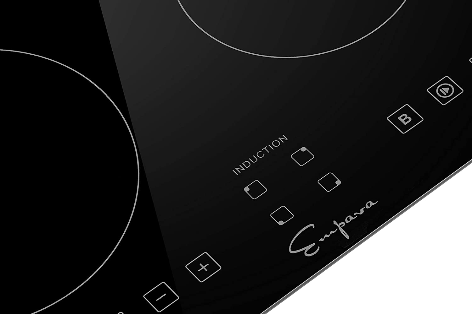 Black Empava IDCX12 12 Inch Electric Induction Cooktop Smooth Surface with 2 Burners 120V