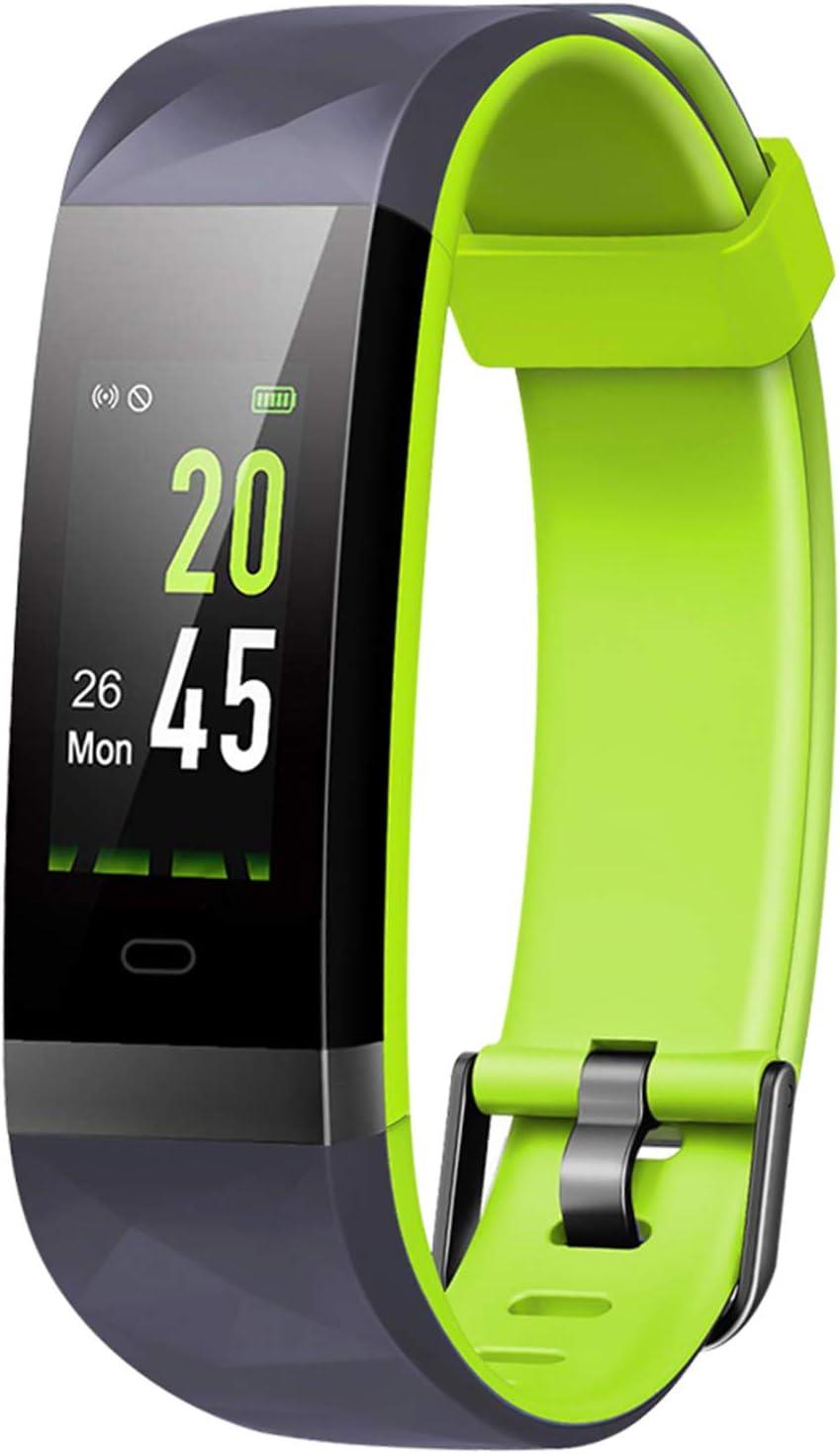 Monitor de actividad Lintelek con pantalla a color, IP68 impermeable, monitor de ritmo cardíaco, contador de calorías, podómetro delgado para niños, mujeres y hombres