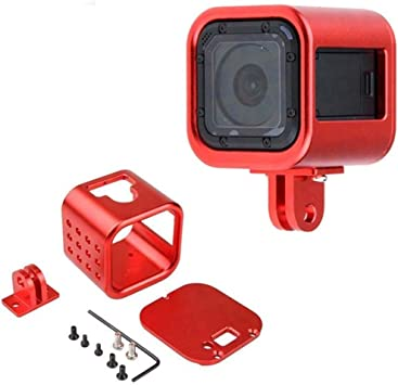Camera Accessories 2 in 1 Housing Shell CNC Aluminum Alloy Protective Cage with Lens Frame for GoPro HERO4 //3+ Black Color : Red