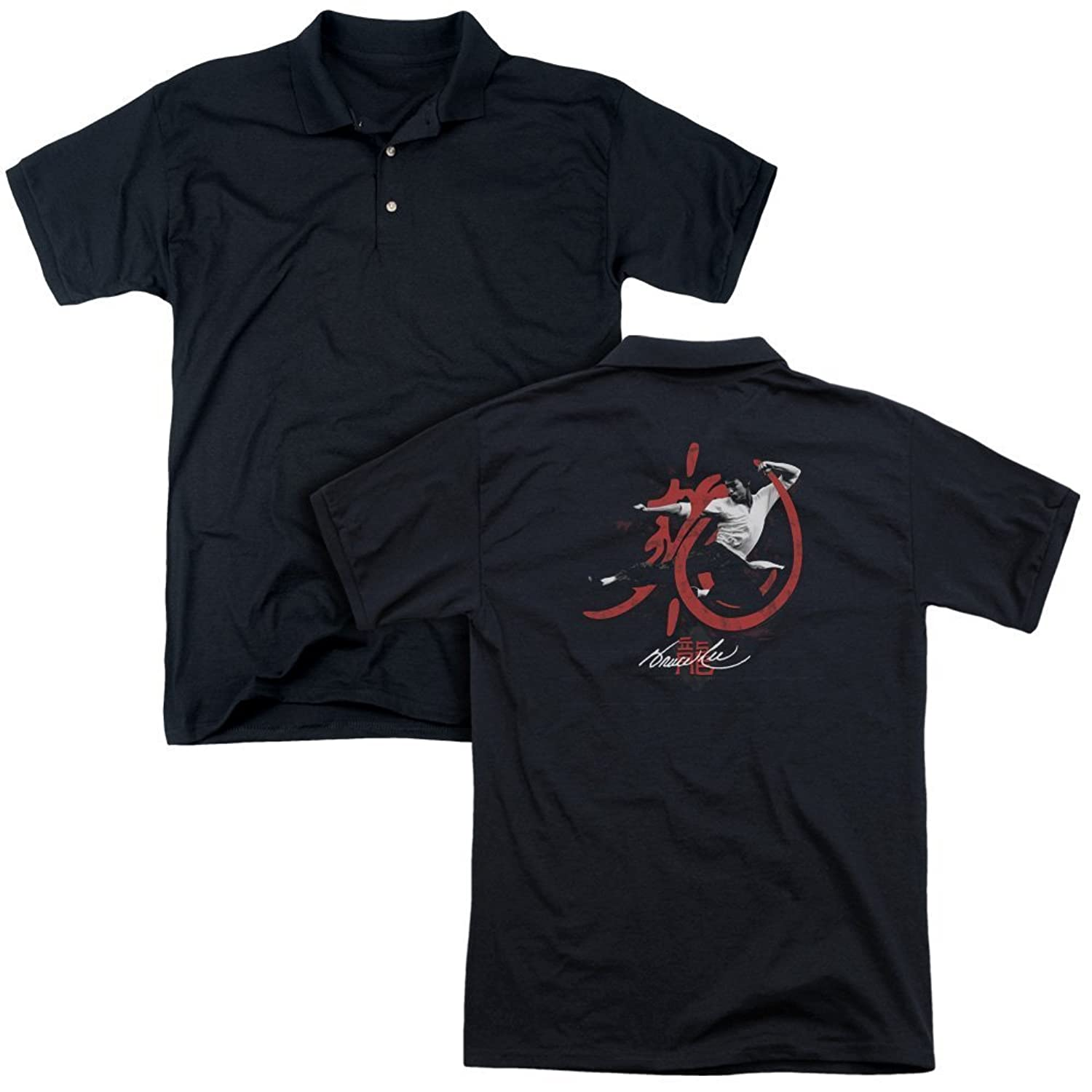 Bruce Lee Chinese Martial Arts Icon Distressed Kung Fu Kick AdultBack Print Polo