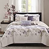 Madison Park Luna Full/Queen Size Quilt Bedding Set - Taupe, Purple, Floral, Leaf – 6 Piece Bedding Quilt Coverlets – Ultra Soft Microfiber With Cotton Filling Bed Quilts Quilted Coverlet