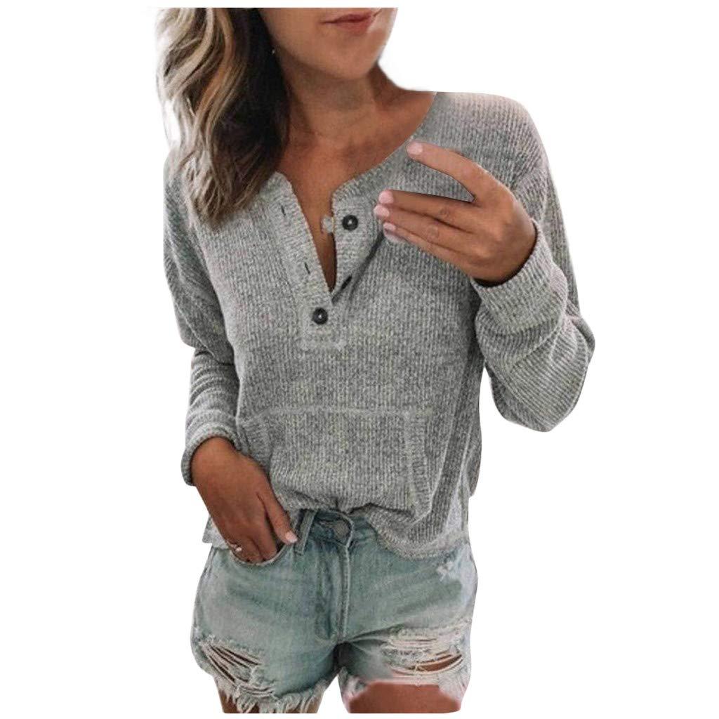 Panpany Magliette da Donna alla Moda Manica Lunga con Bottoni Casuali Allentati Lavorato Felpa Tumblr Tee Shirt Tops