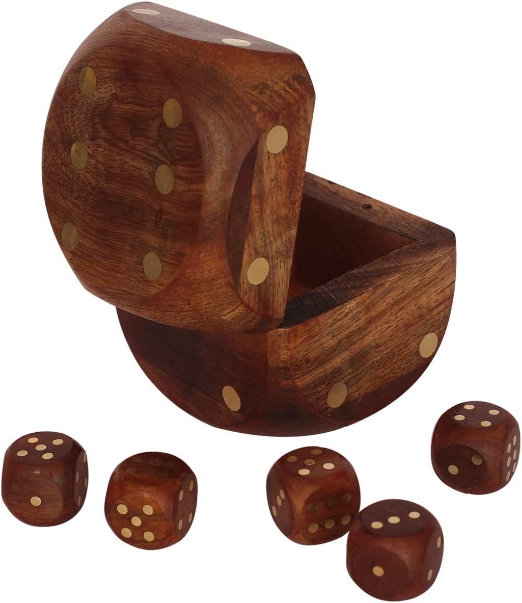 Handmade Indian Dice Game Set Decorative Storage Box - Includes 5 Wooden Dice