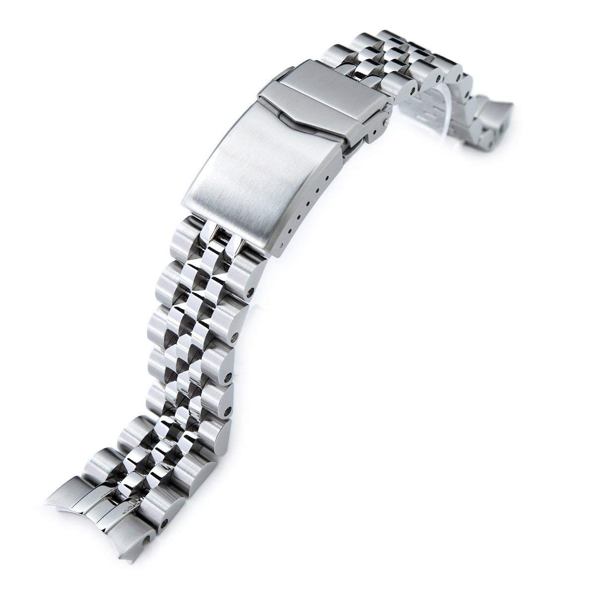 20mm Angus Jubilee 316L SS Watch Bracelet for Seiko SARB033, Brushed, V-Clasp