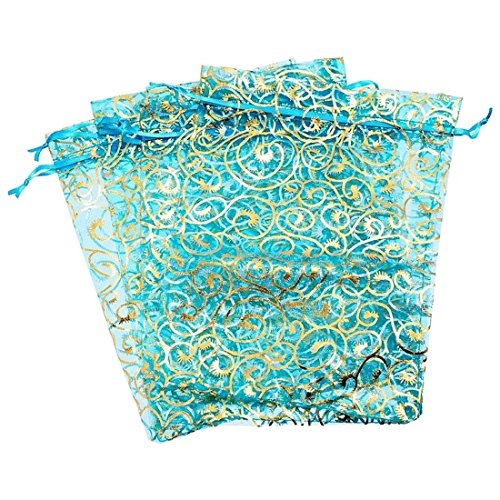 Toy Christmas - 25pcs Flower Organza Gift Bags Wedding Christmas Favour 17x23cm Sky Blue - Leash Coloring Strap Lingerie Girls Oracle Robe Necklace Bedroom Napkin Front Favour Decorations Necklac ()