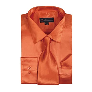 e3673f324 Milano Moda Men's Dress Shirt with Tie/Handkerchief HLSG08 New York Brand