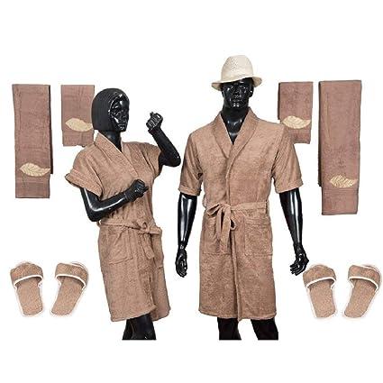 Kuber Industries Cotton 10 Piece Bathrobe Set - Brown