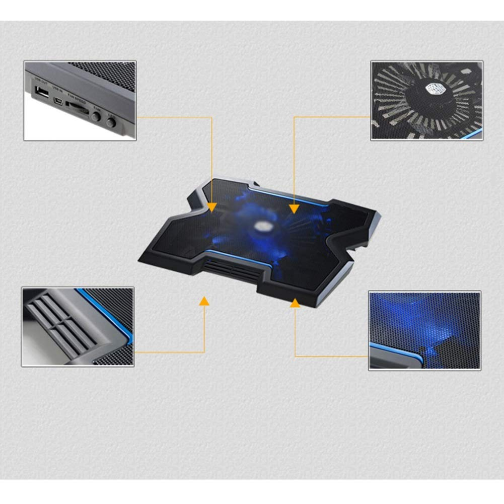 Ho,ney Laptop Cooler - Folding Portable 20cm Large Fan, Blu-ray Adjustable Speed, Large Cooling Pad for 17.3 Inches Or Less (Black) -1053 Notebook Cooler by Ho,ney (Image #4)