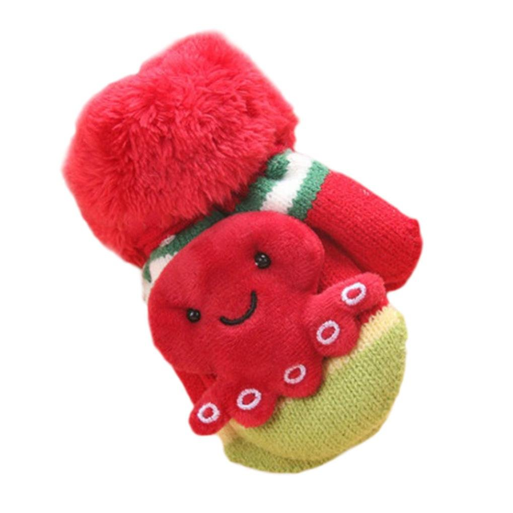 Amiley Baby Kid Boy Girl Cute Cartoon Thicken Knitted Winter Warm Mittens Gloves
