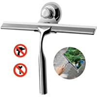 UEOTO Shower Squeegee, Stainless Steel Window Squeegees Cleaner for Bathroom