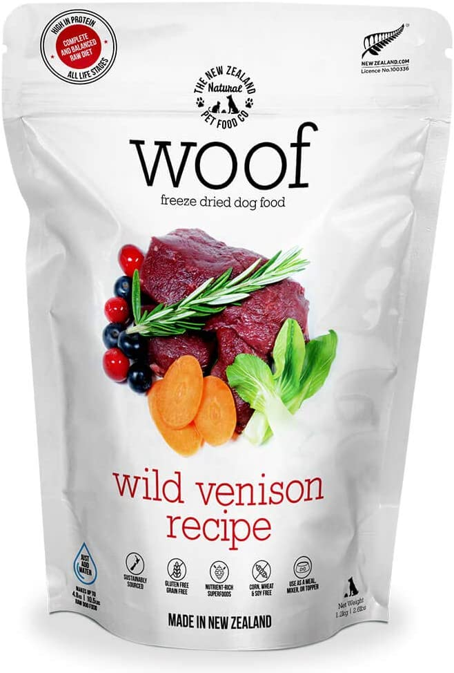 The New Zealand Natural Pet Food Co. WOOF Wild Venison Freeze Dried Raw Dog Food, Mixer, or Topper - High Protein, Natural, Limited Ingredient Recipe 42 oz, Brown (NZ-WFD1200V)